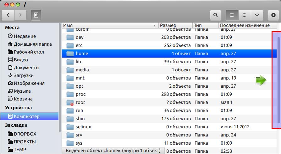 Скроллбар в стиле MAC OS X Lion темы для Ubuntu 13.04
